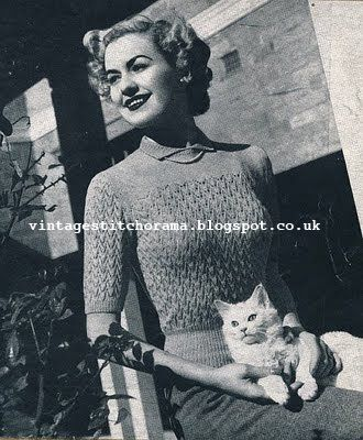 Free Pattern 1940s Knitting Rondo Sweater Jumper