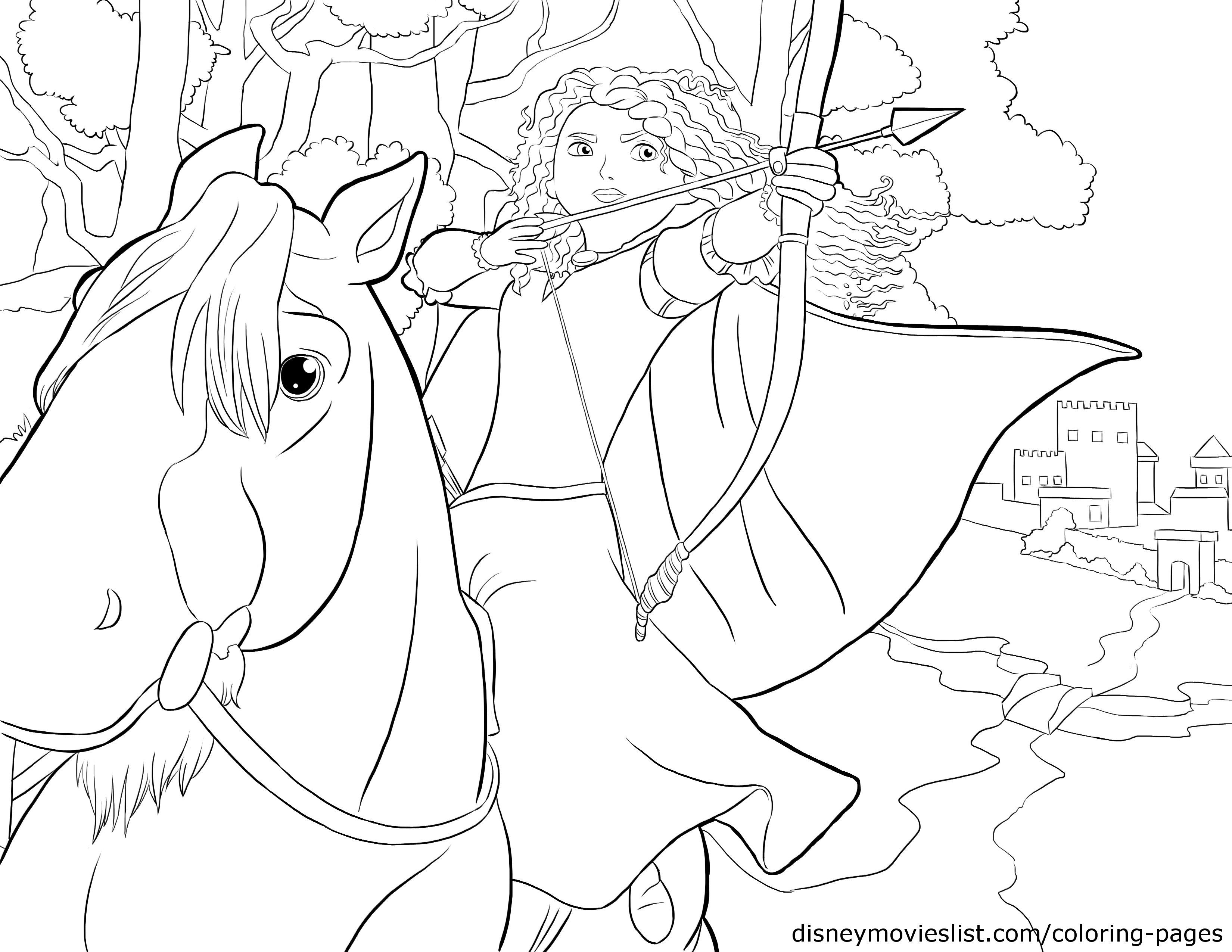 Disney\'s BraveMerida and Angus Coloring Page | Crafts for kids ...