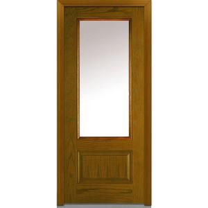 Mmi Door 36 In X 80 In Left Hand Inswing 1 2 Lite Clear 2 Panel Classic Stained Fiberglass Oak Prehung Front Door Z000191l The Home Depot Oak Exterior Doors Mmi Door Oak Front Door
