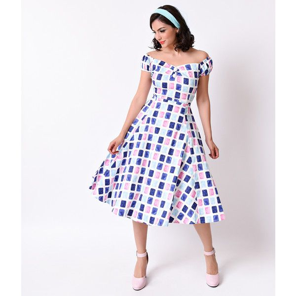 f326eeec70d8 Collectif 1950s Pastel Paint Pot Dolores Cap Sleeve Swing Dress ( 78) ❤  liked on