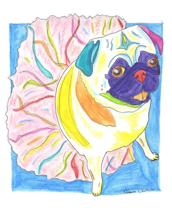 For your amusement on this fine foxy Friday:: a pug in a tutu. Now available to make walls more colorful everywhere! Click here to pick up a print of your very own. Painting by Claire Chambers - Chickenpants Studio