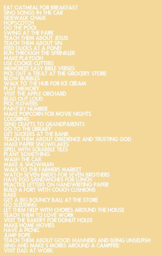 50 Things To Do With Your Kids