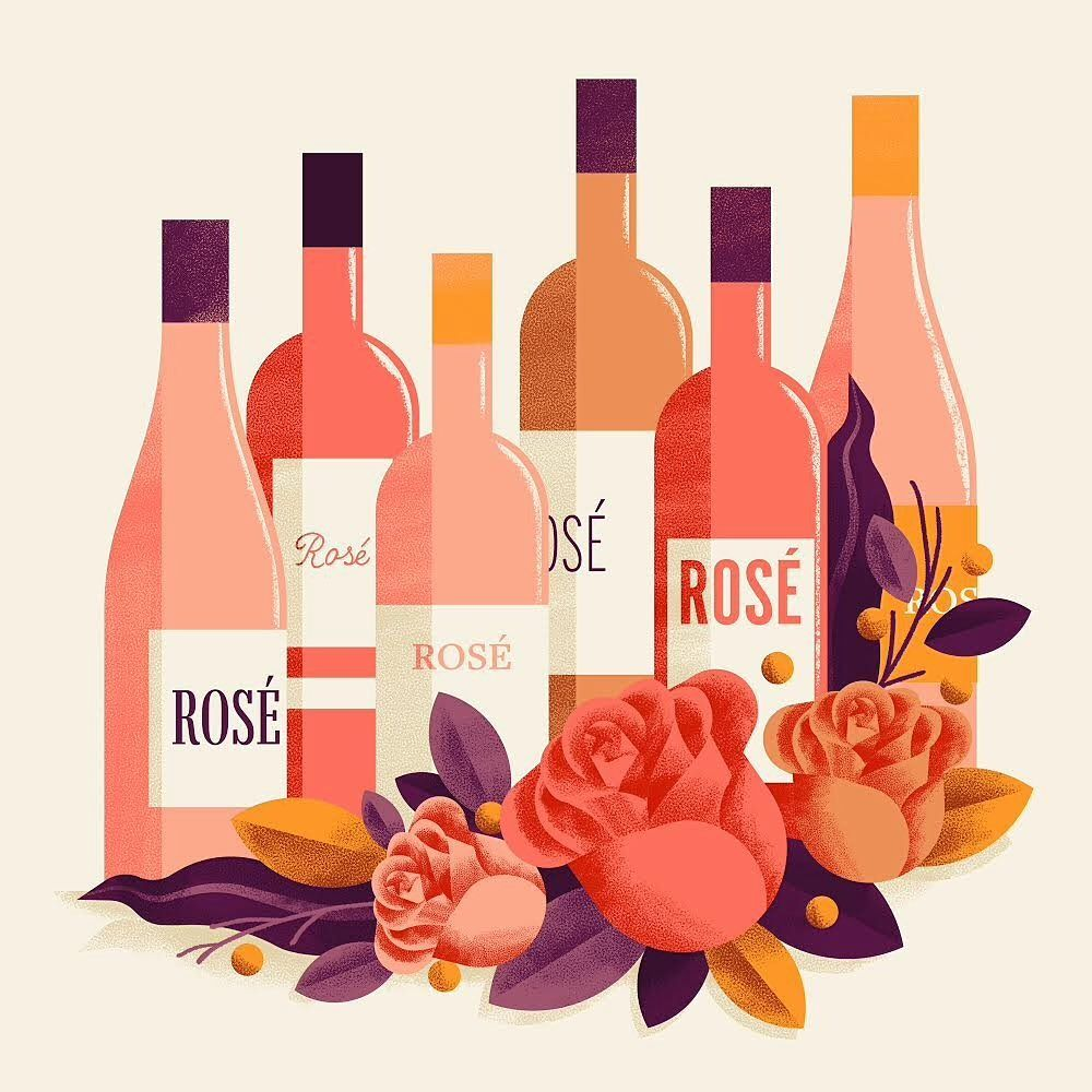 Daniele Simonelli Design On Instagram Rose Wine Lustration For The Sampler Section Of Wineexpress Com Dsgn Win Wine Bottle Illustration Rose Rose Wine