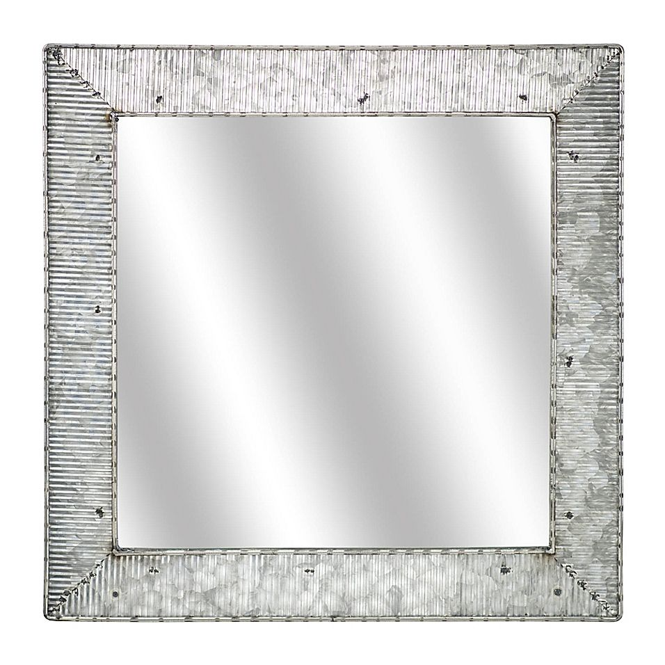 Galvanized Metal 22 Square Wall Mirror In Silver Mirror