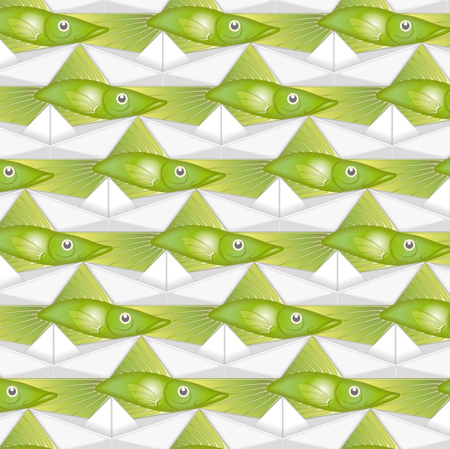 pavage bateau papier et poisson