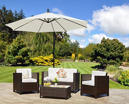 New ROMA Rattan Wicker Weave Garden Furniture Patio Conservatory Sofa Set  (Brown) INCLUDES OUTDOOR