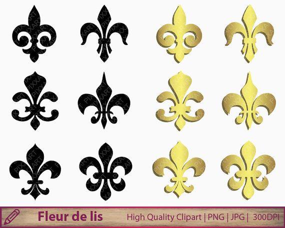 Fleur De Lis Svg Png Gold Fleur De Lys Clipart Printable Etsy Art Digital Paper Silhouette Svg