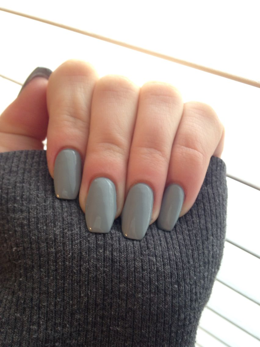 gray coffin shape nails | nails | Pinterest | Winter nails, Shapes ...