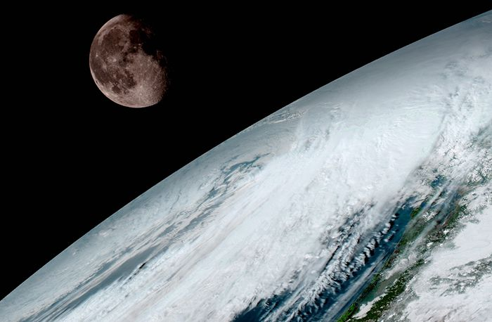 Goes 16 Captured This View Of The Moon As It Looked Across The Surface Of The Earth On January 15 Like Earli Weather Satellite Earth Pictures Earth From Space