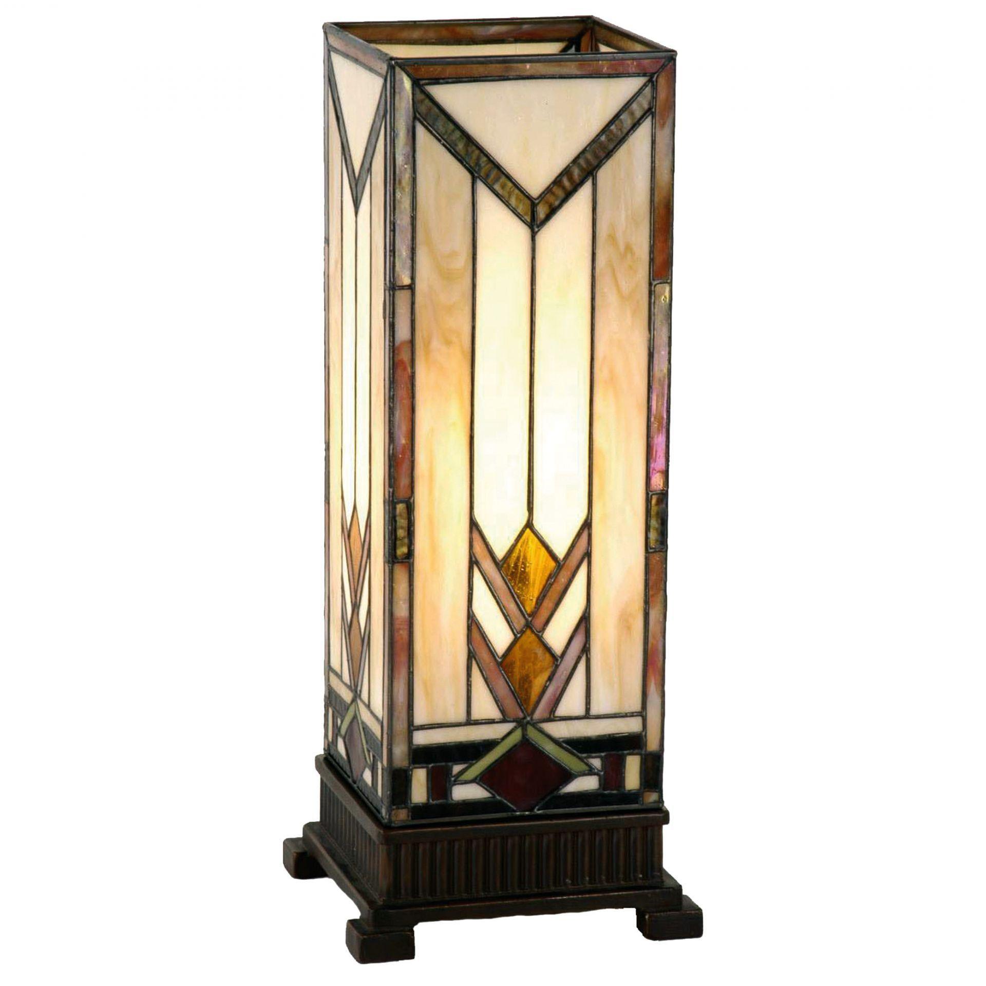 Prairie Tiffany Large Square Table Lamp Stained Glass Candle Holders Glass Lamp Square Table Lamp