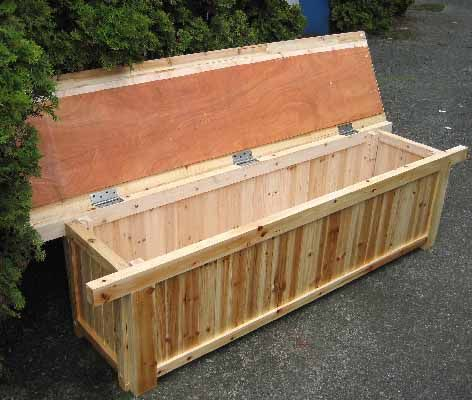 Amazing Cedar Wood Storage Bench   Exactly What We Need For Patio.