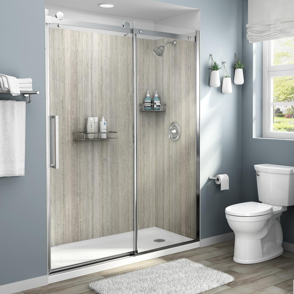 American Standard Passage 32 In X 60 In X 72 In 4 Piece Glue Up Alcove Shower Wall In Pewter Travertine P2971swt 370 The Home Depot Bathroom Wall Panels Shower Wall Panels Shower Wall