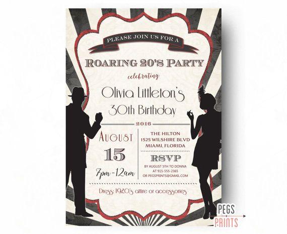 Printable Roaring 20s Invitation Roaring 20s Birthday Invitation