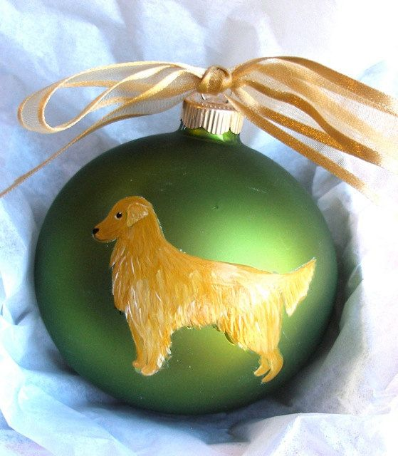 Golden Retriever Dog Hand Painted Christmas Ornament Can Be