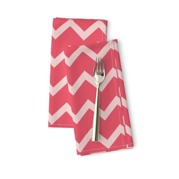Pink Chevron Dinner Napkins (Set of 2) - Pink Chevron by crystal_whitlow - Candy Cane Pink On Pink Cloth Napkins by Spoonflower