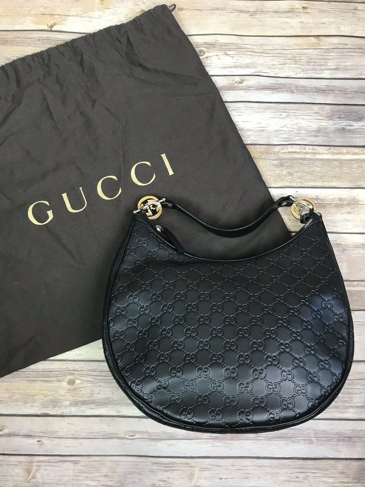 21937cdba1b6 NWOT Gucci Black Guccissima GG Twins Large Hobo Bag | Bag in 2019 ...