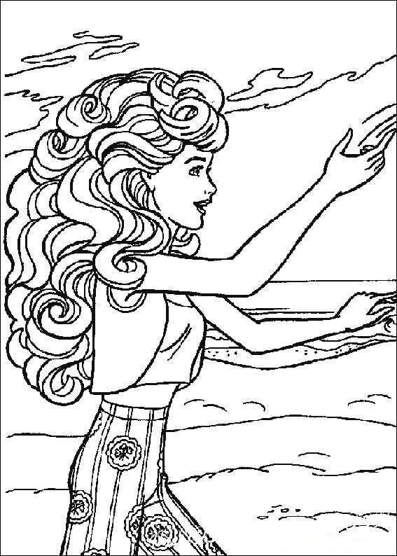 Barbie Playing At The Beach Barbie Coloring Pages Barbie
