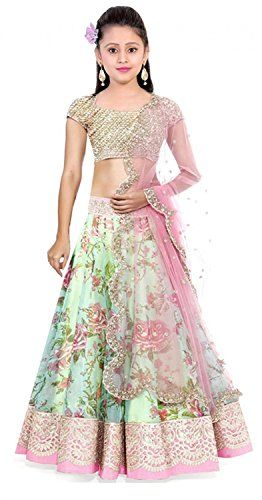 2fb022914 Myozz Girls Bhagalpuri Semi-Stitched Lehenga Choli (Mc10005  Green ...