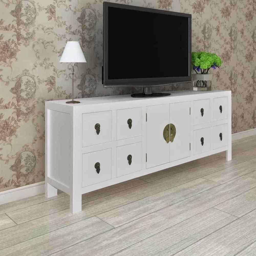 White Tv Stand Center Wood Storage Media Console Furniture