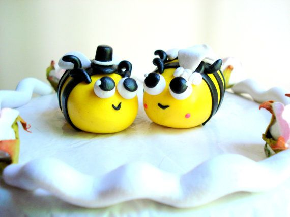 Bee Wedding Cake Topper Polymer Clay Blebee Customizable