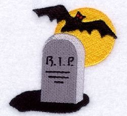 Bat with Tombstone - 4x4 | Halloween | Machine Embroidery Designs | SWAKembroidery.com Starbird Stock Designs