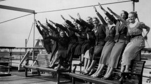 Women in Germany doing the Nazi salute.