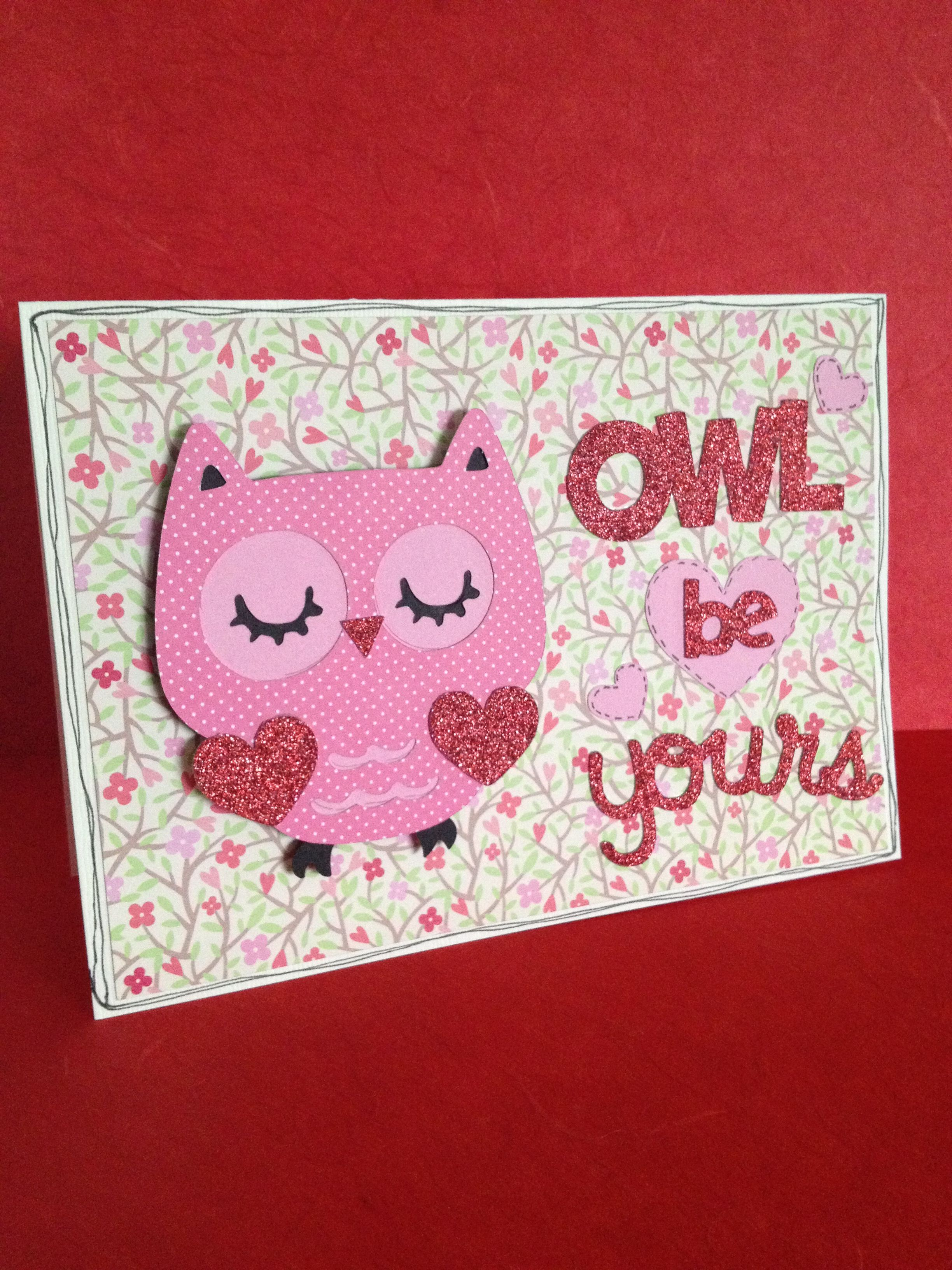 Simple valentine card using Cricut Create a Critter 2 Made by T