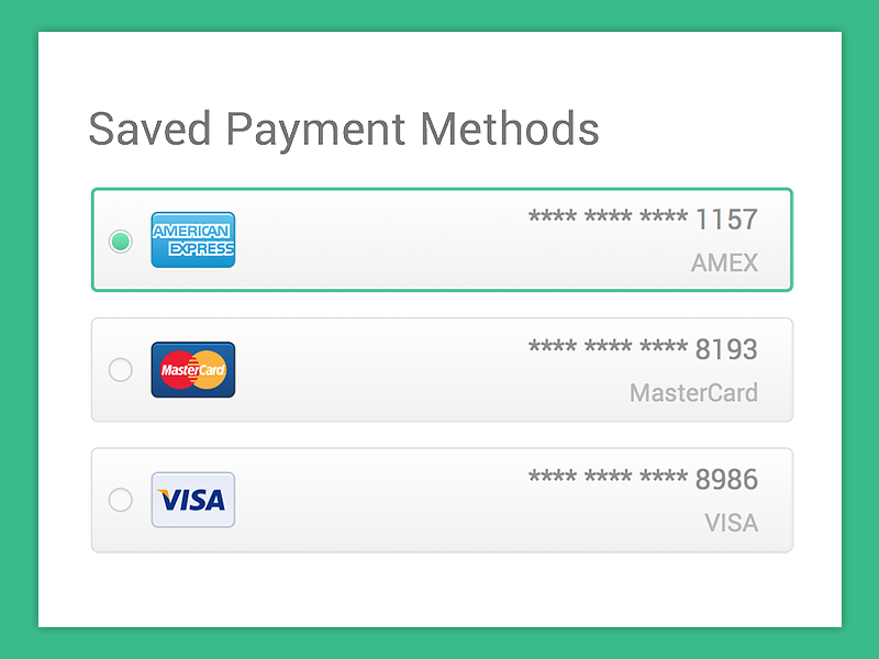 Saved Payment Methods Credit Card App Credit Card Website Credit Card Icon