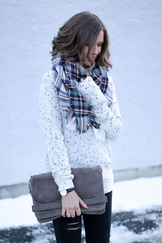 Snow Day Outfit: Cozy Off the Shoulder Sweater and a Plaid Scarf