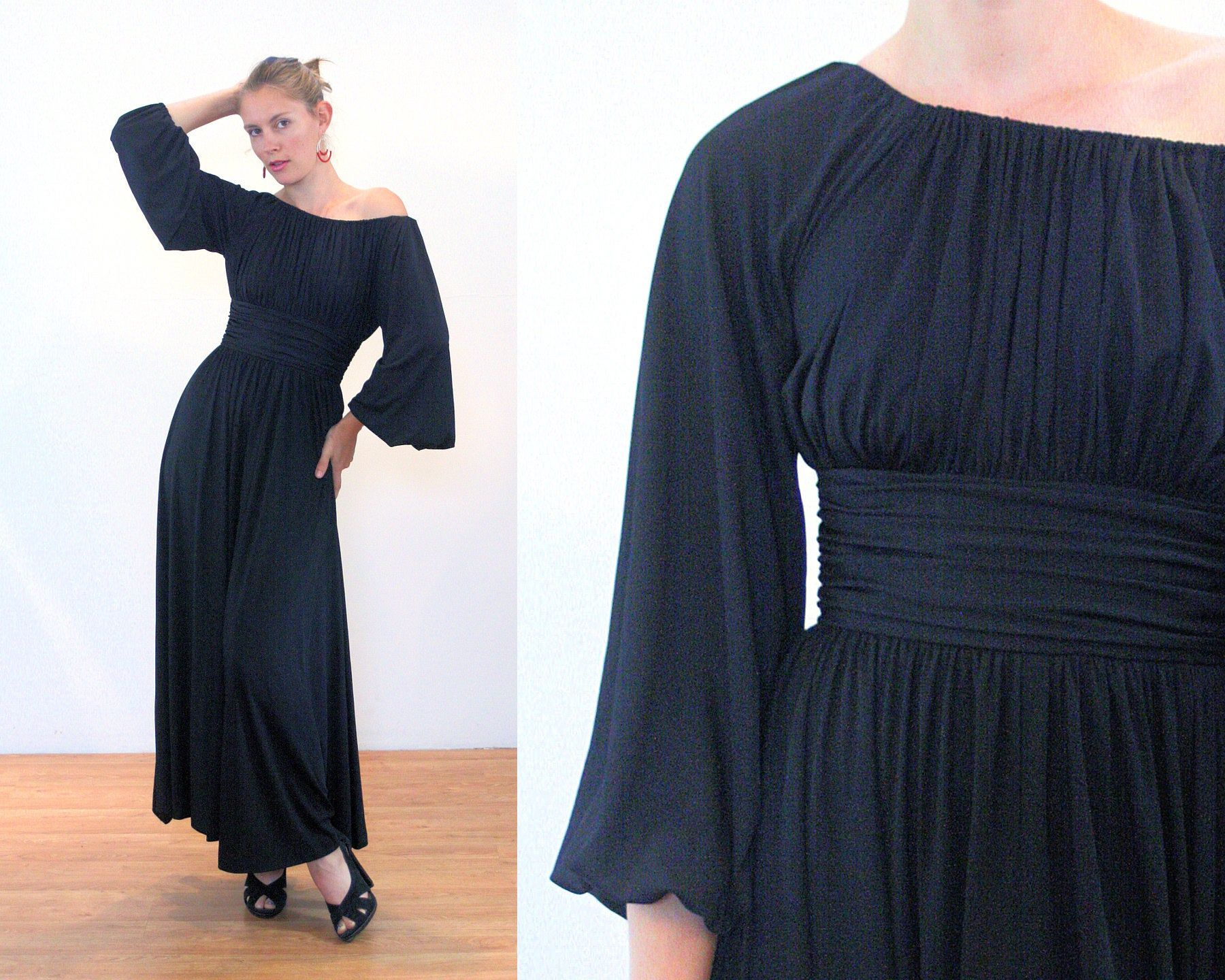 70s Black Maxi Dress M Vintage Ruched Black Off The Shoulder Etsy Black Maxi Dress Dresses Maxi Dress [ 1440 x 1800 Pixel ]