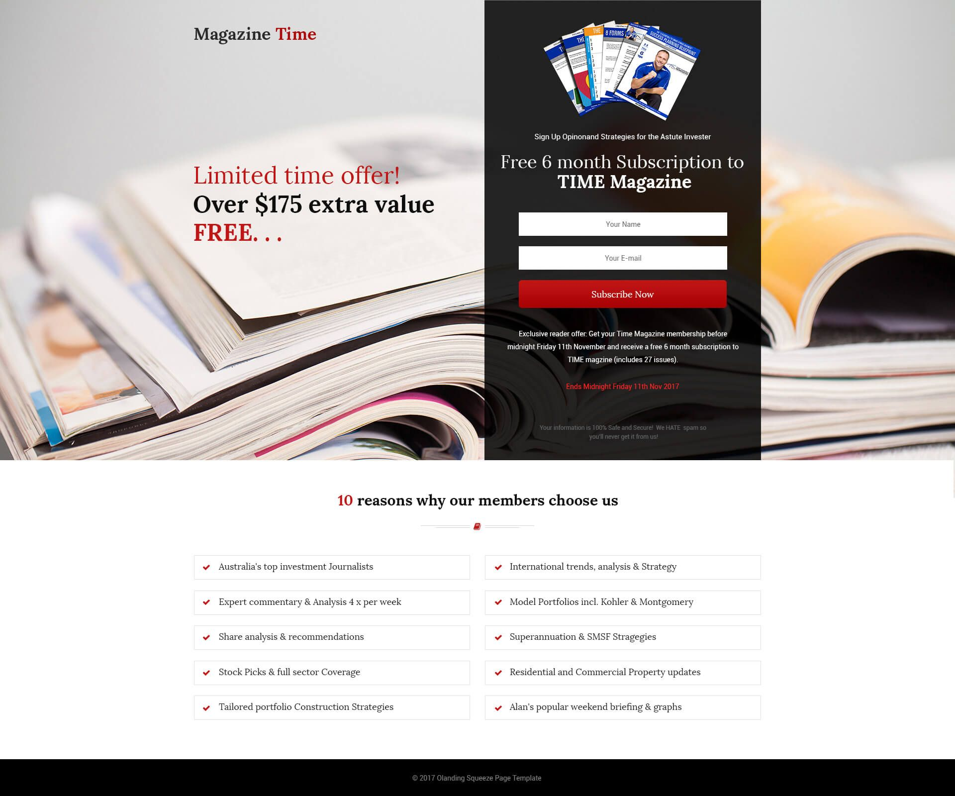 html5 responsive time magazine style squeeze page design template