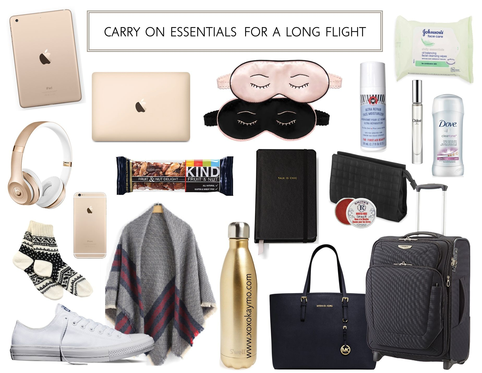Carry On Essentials For A Long Flight - XoxoKayMo. Traveling