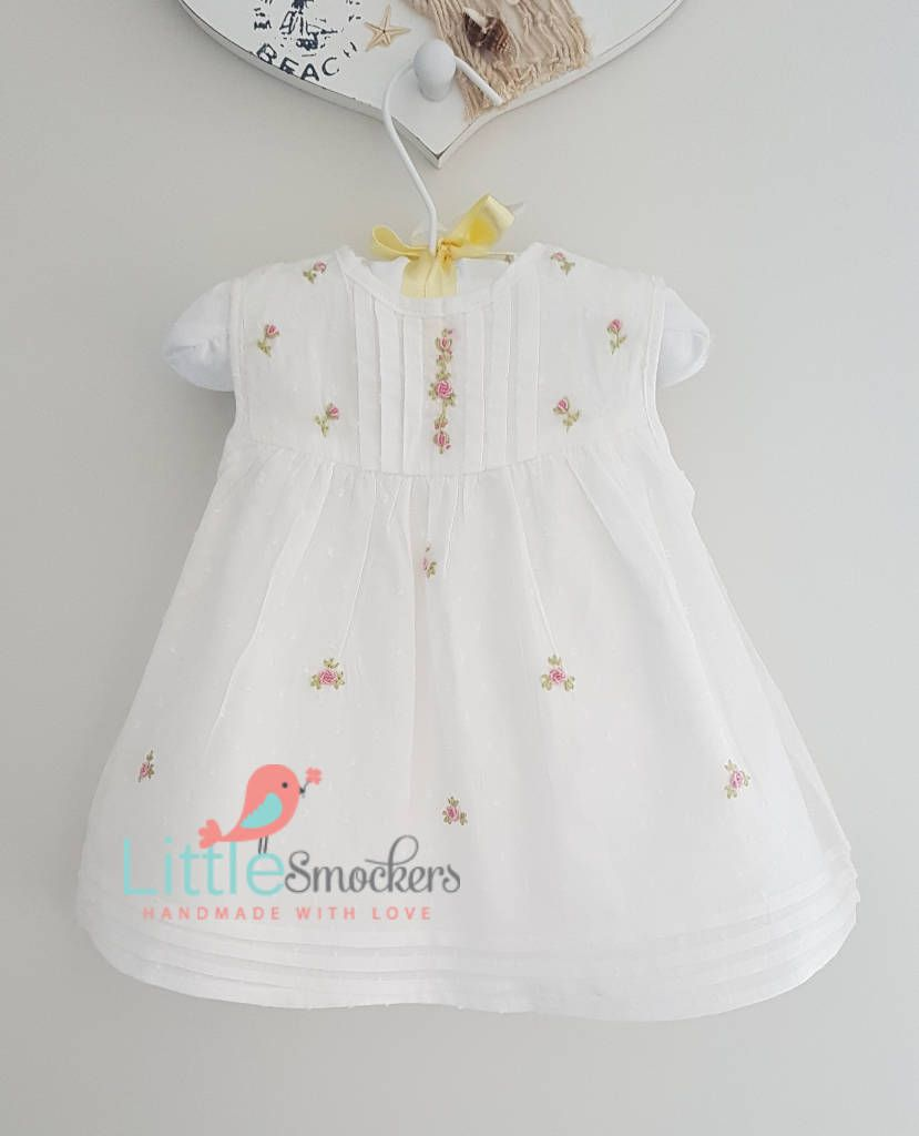 4db14eb17149 White spot voile beautiful hand embroidered baby dress - 0-3 months by  LittleSmock on Etsy