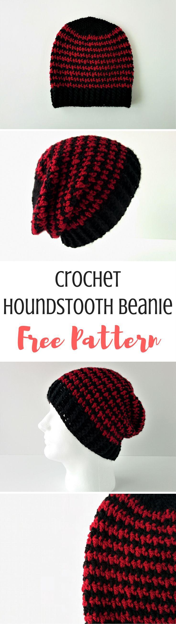 Houndstooth Beanie FREE Crochet Pattern
