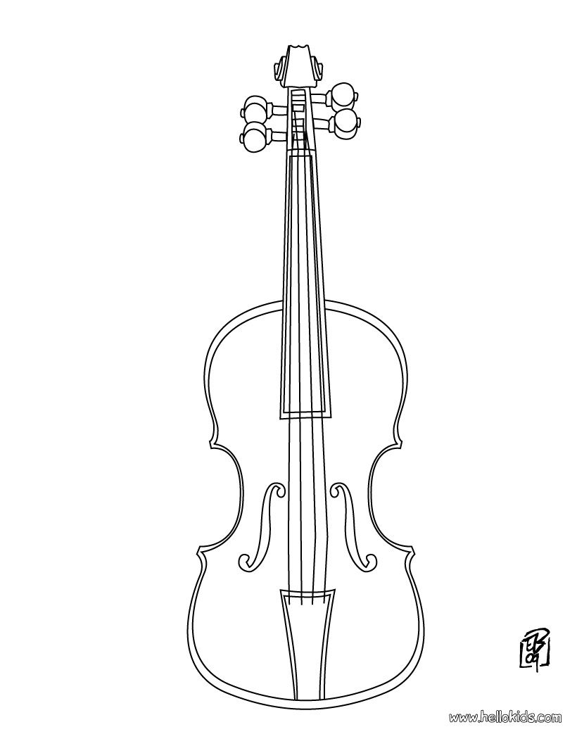 Violin coloring page except add lines so they can fill in the names of each part of the violin