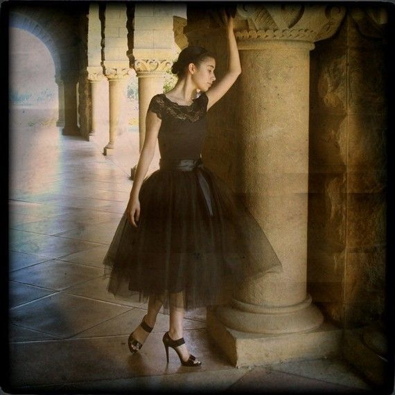 Black tulle skirt tutu for women.  Lined by TutusChicOriginals