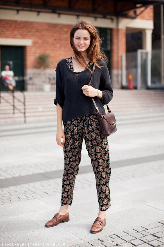 aa281586a5c Stockholm Streetstyle. cropped sweater on floral jumpsuit and monk shoes.