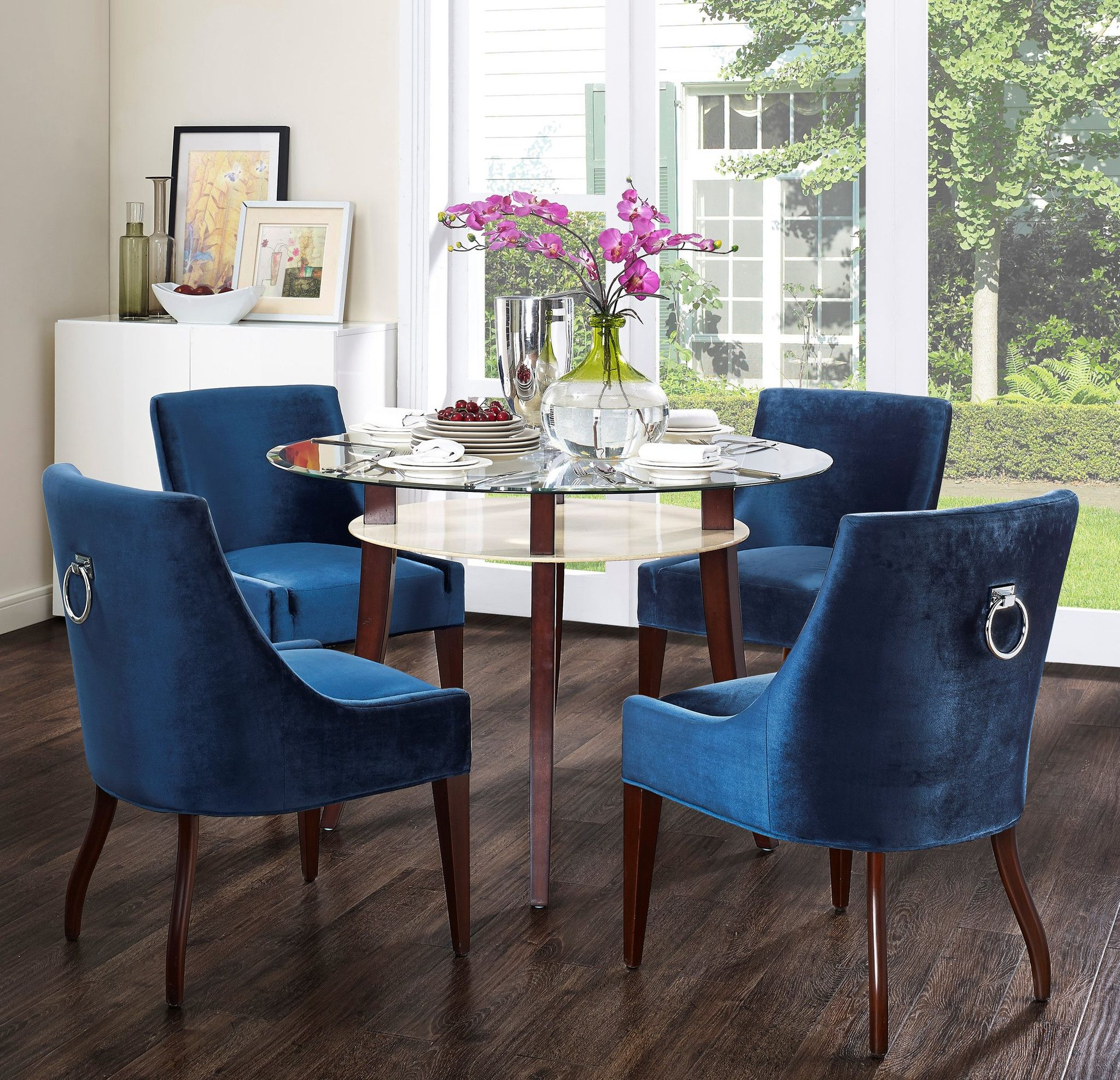 Tov Furniture Modern Dover Blue Velvet Dining Chair Tov