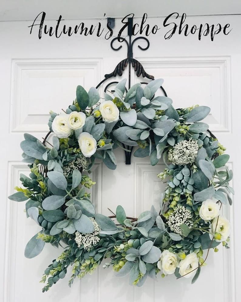 Farmhouse door wreath lambs ear eucalyptus wreath