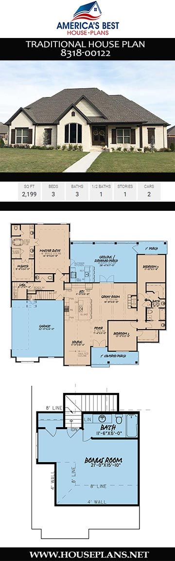 House Plan 8318 00122 Traditional Plan 2 199 Square Feet 3 Bedrooms 3 5 Bathrooms In 2020 House Plans Traditional House Plans Craftsman House Plans