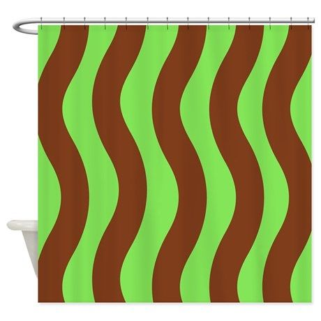 Brown And Lime Green Waves Shower Curtain