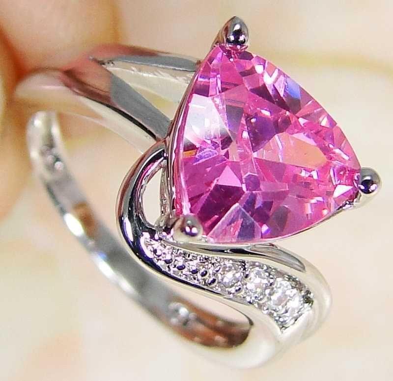 Quartz Pink Topaz & 925 Silver Handmade Unusual Ring Size K & gift-box