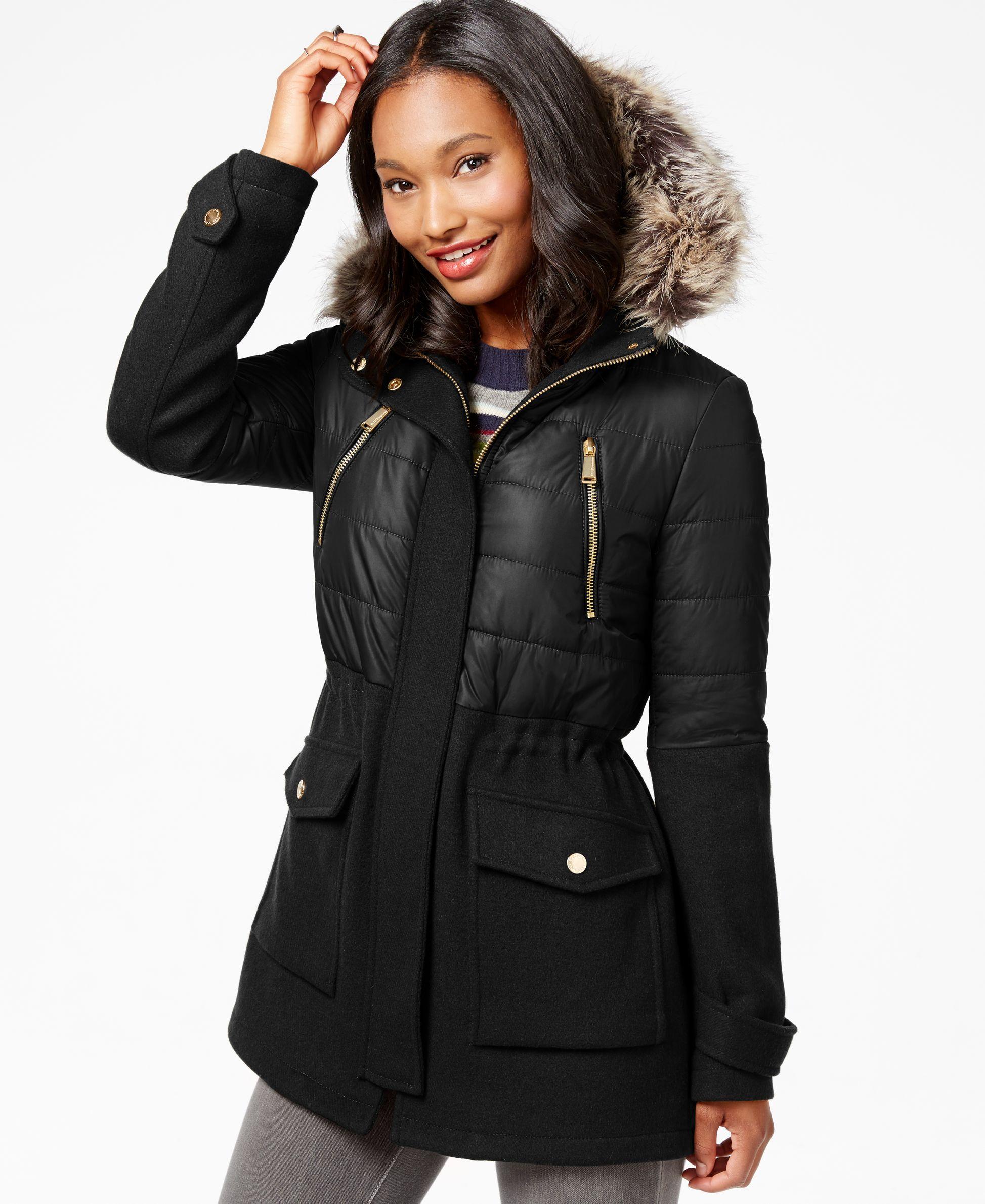BCBGeneration Faux-Fur-Trim Mixed-Media Puffer Coat