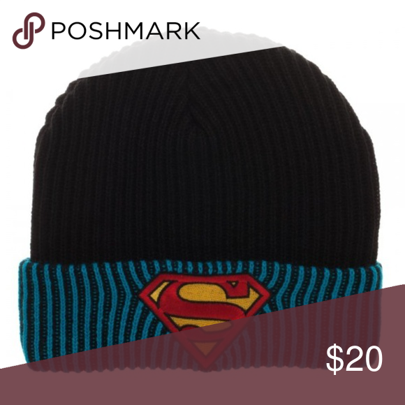 5528eb1f9c5 Superman Reversible to Slouch Beanie Hat DC Comics This beanie is  reversible. It is black