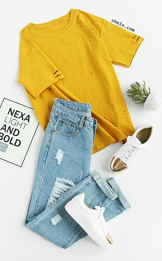 Distressed Tee   Tshirt outfits, Clothes, Fashion outfits