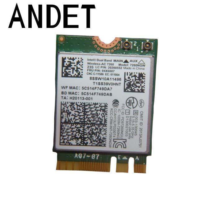 Lenovo Thinkpad T450s Intel Dual Band Wireless AC N Bluetooth 4.0 Card 7260NGW