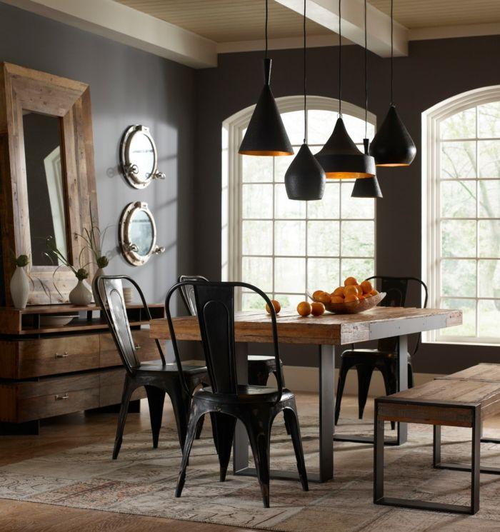schwarze wandfarbe esszimmer rustikale möbel spiegel - wandfarben fr esszimmer