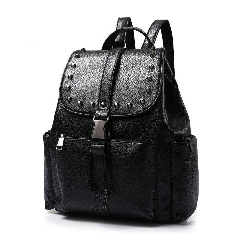 New Fashion Women Waterproof PU Leather Rivet Backpack Women's Backpacks for Teenage Girls Ladies Bags with Zippers Black Bags