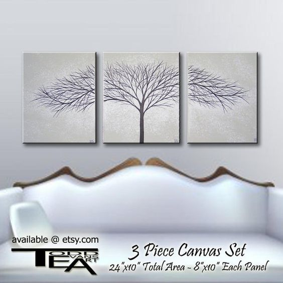 24x10 Inches 3 Piece Canvas Art Grey Gray Black And White Wall Decor Paintings Trees Original Painting Tree Set By Toddevansart