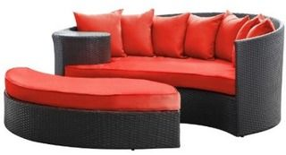 Lexmod Taiji Outdoor Wicker Patio Daybed With Ottoman In Espresso With Red Cushions Patio Lounge Chairs Outdoor Daybed Wicker Daybed
